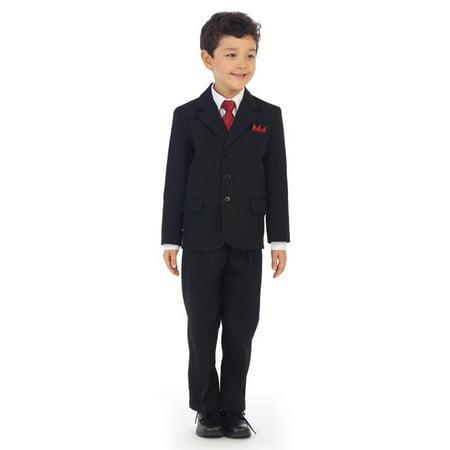 Angels Garment Little Boys Black Pinstripe Jacket Pants Vest Shirt Tie Suit