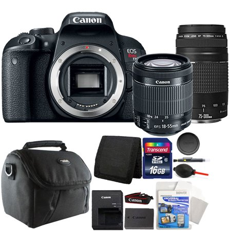 Canon EOS Rebel T7i 24.2MP Digital SLR Wifi Enabled Camera Black with EF-S 18-55 IS STM and EF 75-300mm Lenses + 16GB Accessory Kit
