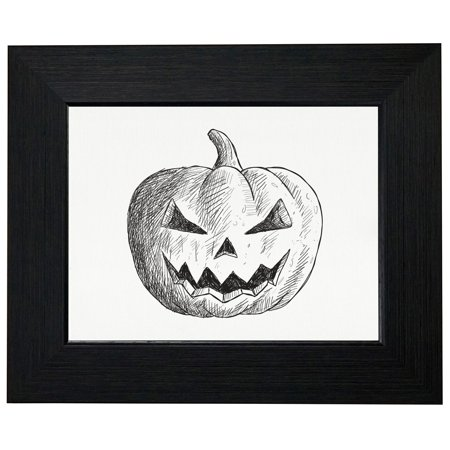 Artistic Evil Halloween Pumpkin Sketch Framed Print Poster Wall or Desk Mount Options](Evil Halloween Pumpkin)