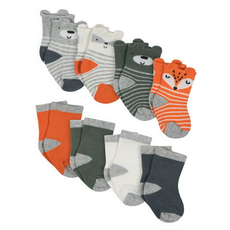 Gerber Jersey Crew Wiggle Proof Socks, 8-pack (Baby Boys)