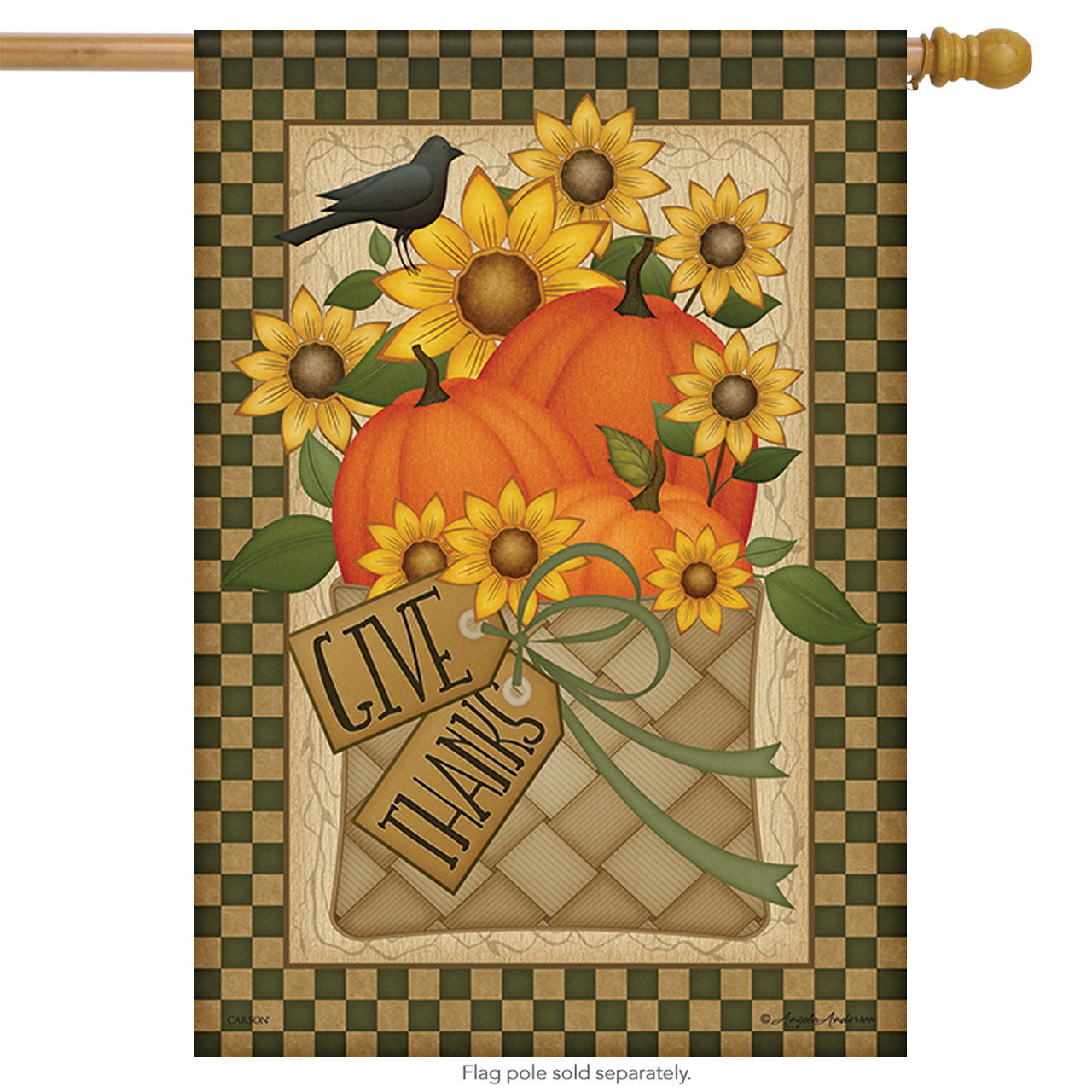"Give Thanks Basket Holiday House Flag 2 Sided Thanksgiving Floral 28"" X 40"""
