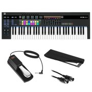 Novation SL MkIII 61-Note MIDI CV Keyboard Controller/Sequencer with Sustain Pedal (Piano Style), Keyboard Cover & MIDI Cable Bundle