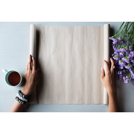 Canvas Print Desk Coffee Hand Flower Paper Work Drink Office Stretched Canvas 10 x -