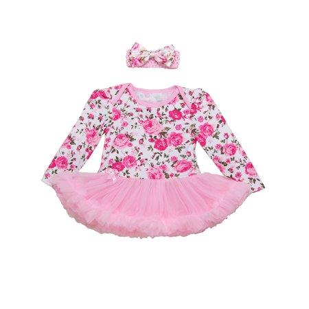 StylesILove Baby Girl Flower Print Long Sleeve Romper Tutu Dress with Headband 2 pcs Set (95/18-24 - Printed Flower Girl Dresses