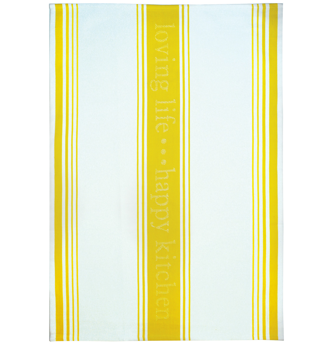 MUkitchen Loving Life 100% Cotton Striped Jacquard Towel 20 by 30-Inches Lemon Drop