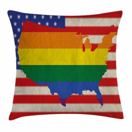 Pride Decorations Throw Pillow Cushion Cover  Usa American Flag With Rainbow Gay Marriage Nationwide Rights Equality  Decorative Square Accent Pillow Case  18 X 18 Inches  Multicolor  By Ambesonne