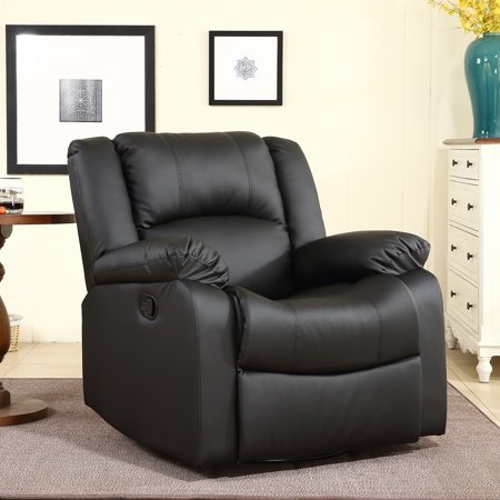 (Belleze Swivel Glider Rocker Recliner Chair Overstuffed Padding Faux Leather, Black)