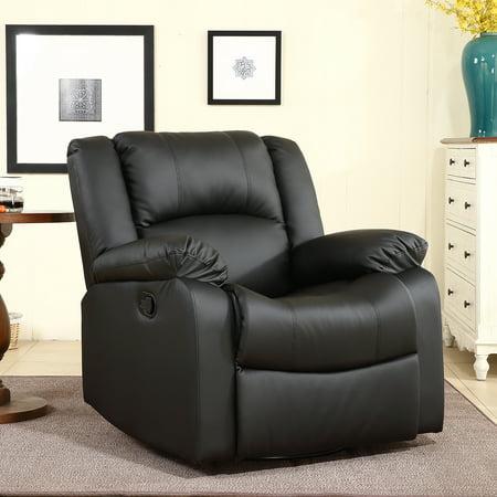 Modular Overstuffed Upholstered Chair - Belleze Swivel Glider Rocker Recliner Chair Overstuffed Padding Faux Leather, Black