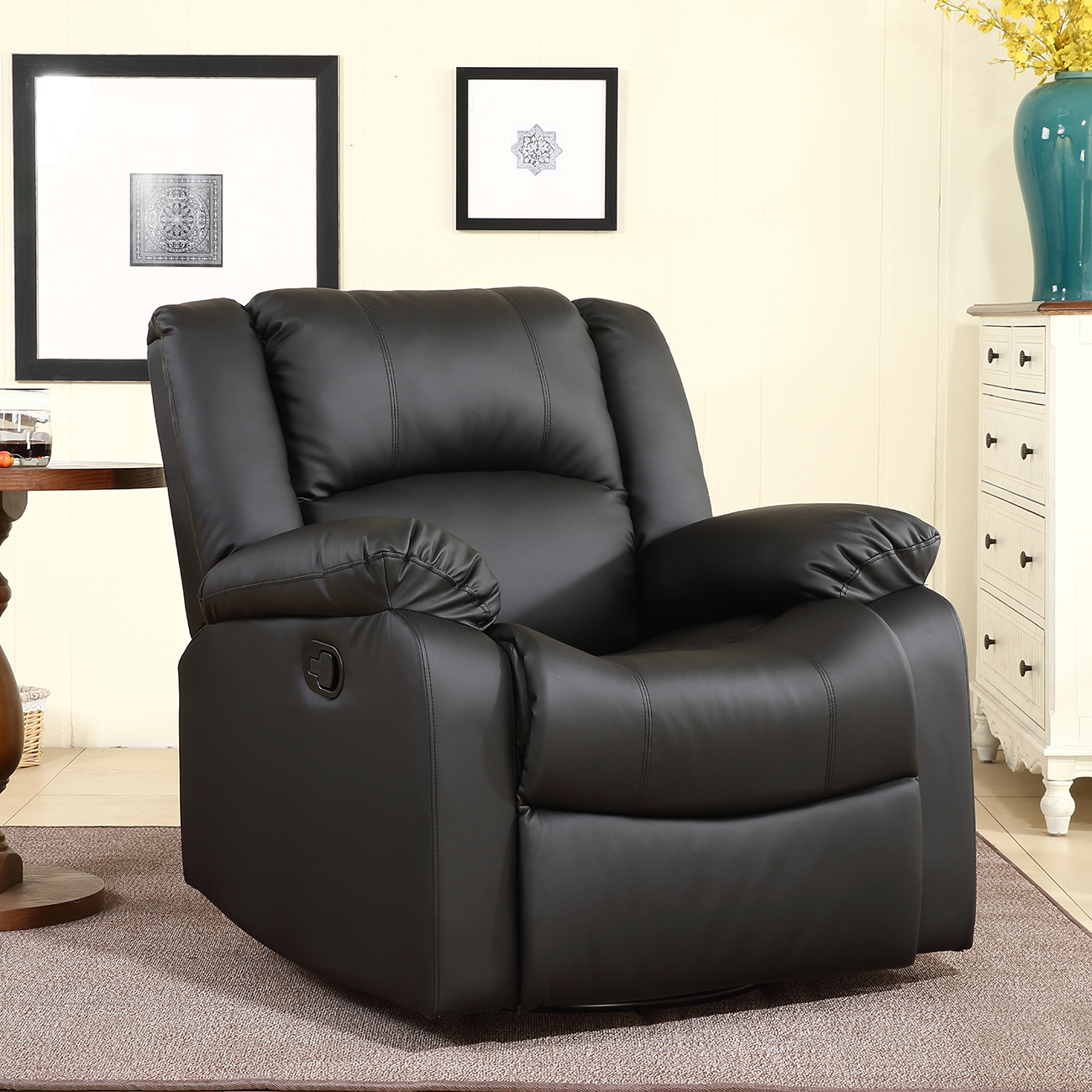 Belleze Swivel Glider Rocker Recliner Chair Overstuffed Padding Faux Leather, Black