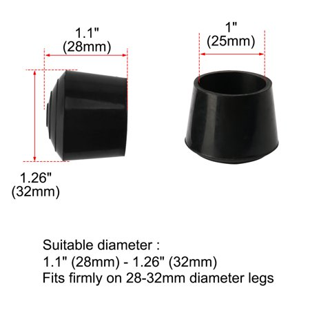 """Rubber Leg Cap Tip Cup Feet Cover 25mm 1"""" Inner Dia 24pcs for Furniture Table - image 5 of 7"""
