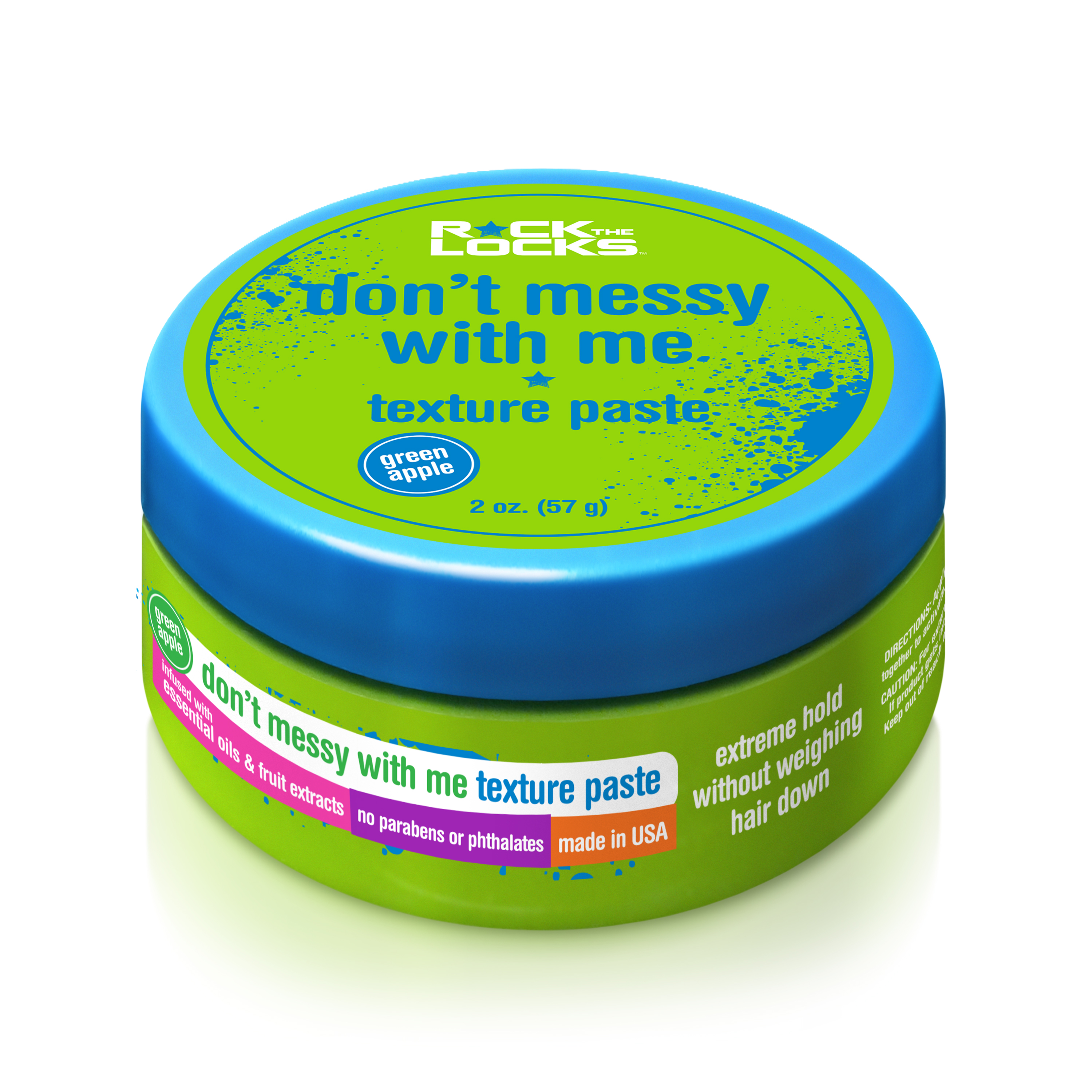 (2 Pack) Rock the Locks Don Messy with Me Texture Paste, Green Apple, 2 Oz