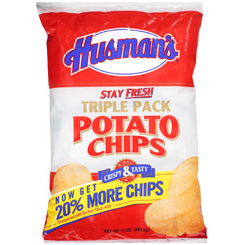 Husman's Triple Pack Potato Chips 20% More Chips, 12 Oz.