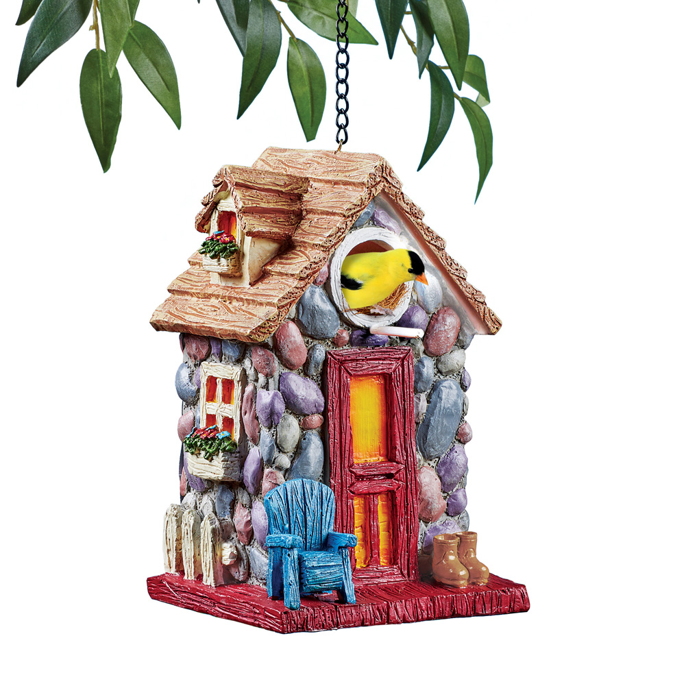 Summer Cobblestone Cottage Hanging Birdhouse with Hook and Chain for Easy Hanging - Outdoor Decorative Accent for Bird Lovers