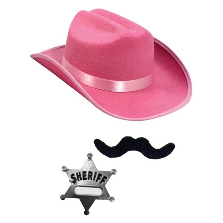 Child's Pink Country Cow Girl Cowboy Hat With Mustache And Badge Accessory Kit
