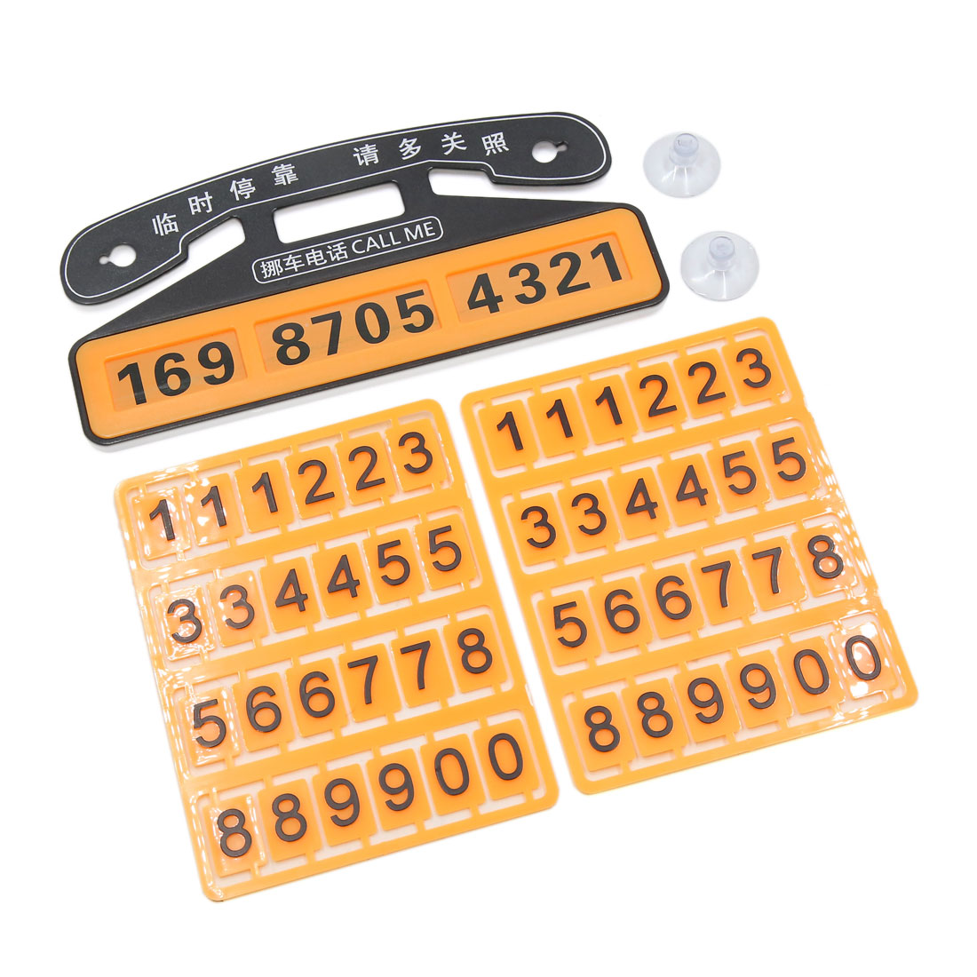 Orange Plastic Puzzle Suction-Cup Parking Notification Phone Number Card for Car