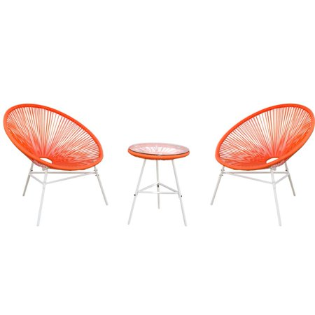 PatioPost 3 Piece Outdoor Acapulco Sun Weave Lounge Patio Chair with Top Glass Table, Orange Red ()