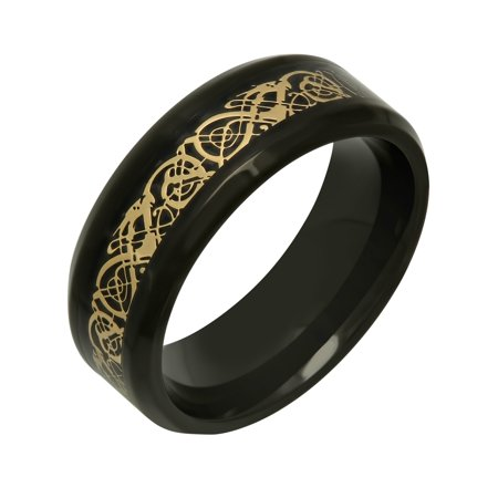 Men's Black and Gold Tone Stainless Steel 8MM Filigree Wedding Band - Mens Ring