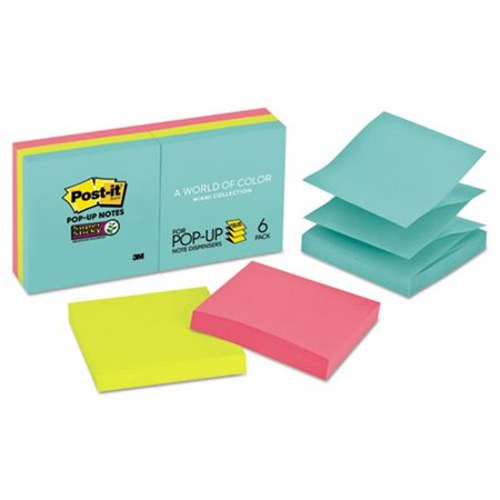 Pastel Colors Refill Notes - 3M R3306SSMIA 3 x 3 in. Pop-Up Note Refill, Miami, 90 per Pad - 6 Pads per Pack