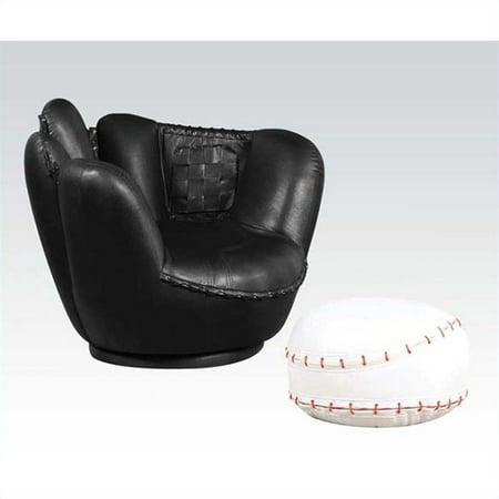 Acme All Star Baseball 2-Piece Chair and Ottoman Set