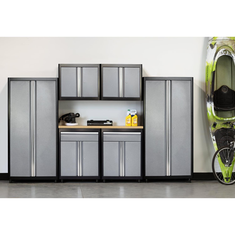 75 in. H x 132 in. W x 18 in. D Welded Steel Garage Storage System in Black/Multi-Granite (7-Piece)