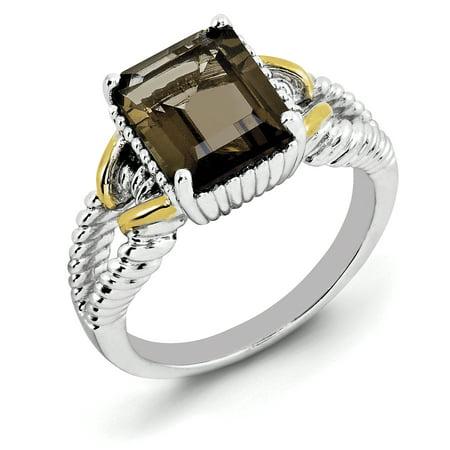 Sterling Silver Rhodium w/ Flash Gold-plate Smoky Quartz Octagonal Ring Size 7 - image 3 de 3