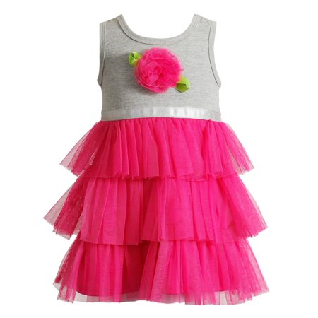 Youngland Little Girls Tutu Dress Hot Pink Rose 2T - Hot Pink Girl Dresses