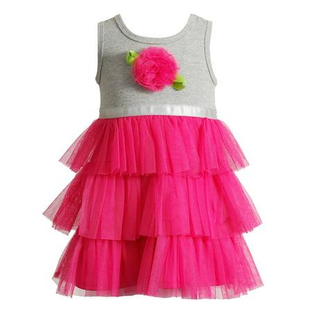 Youngland Little Girls Tutu Dress Hot Pink Rose 2T - 6X 2T