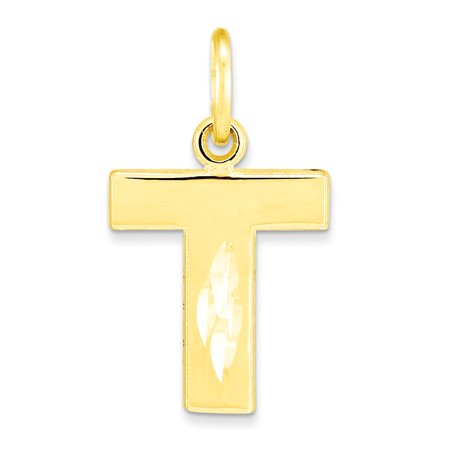 10K Yellow Gold Block Initial T Charm Pendant