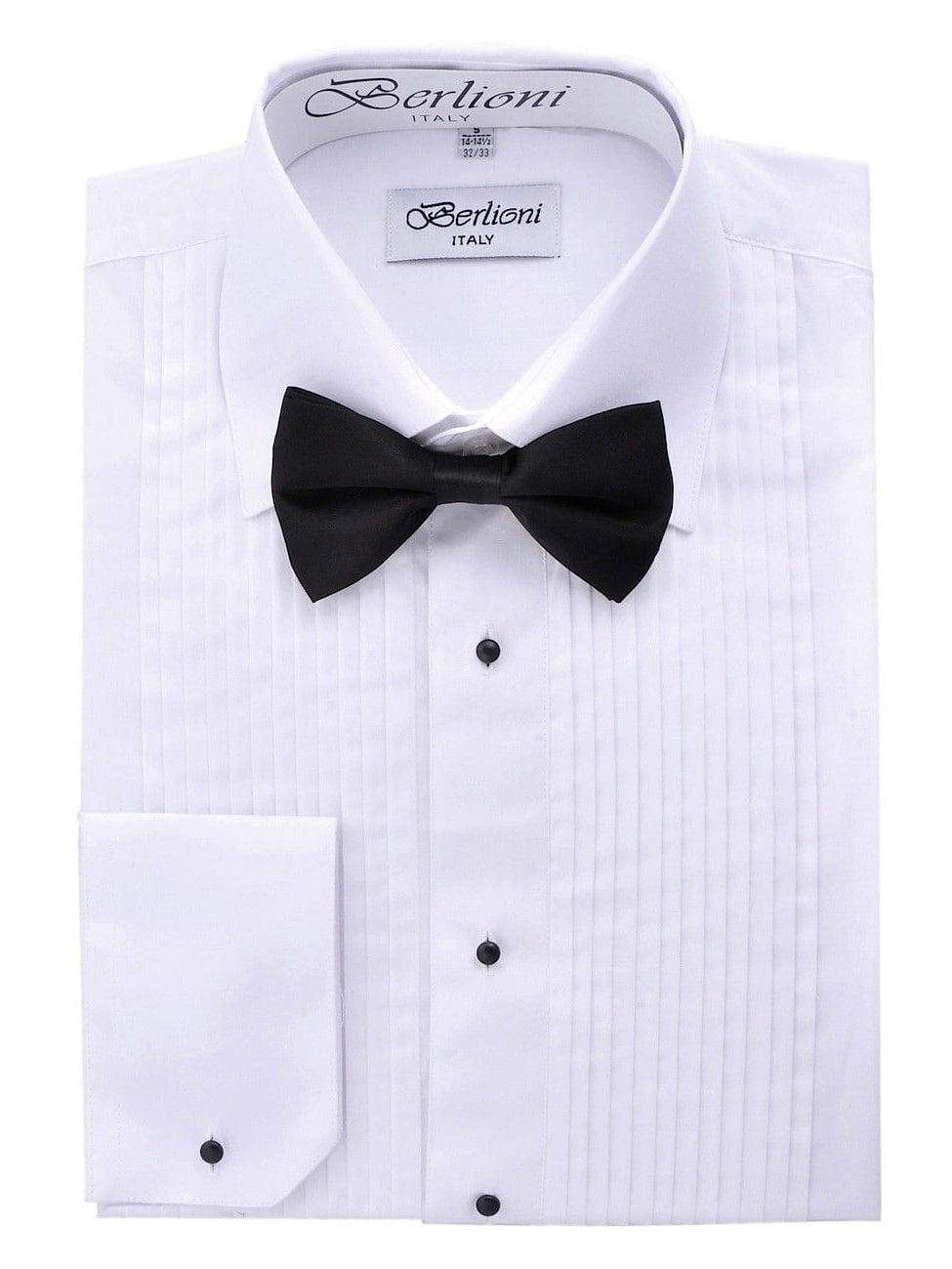 Henry Segal Mens Laydown Collar Long Sleeved Pleated White Tuxedo Shirt