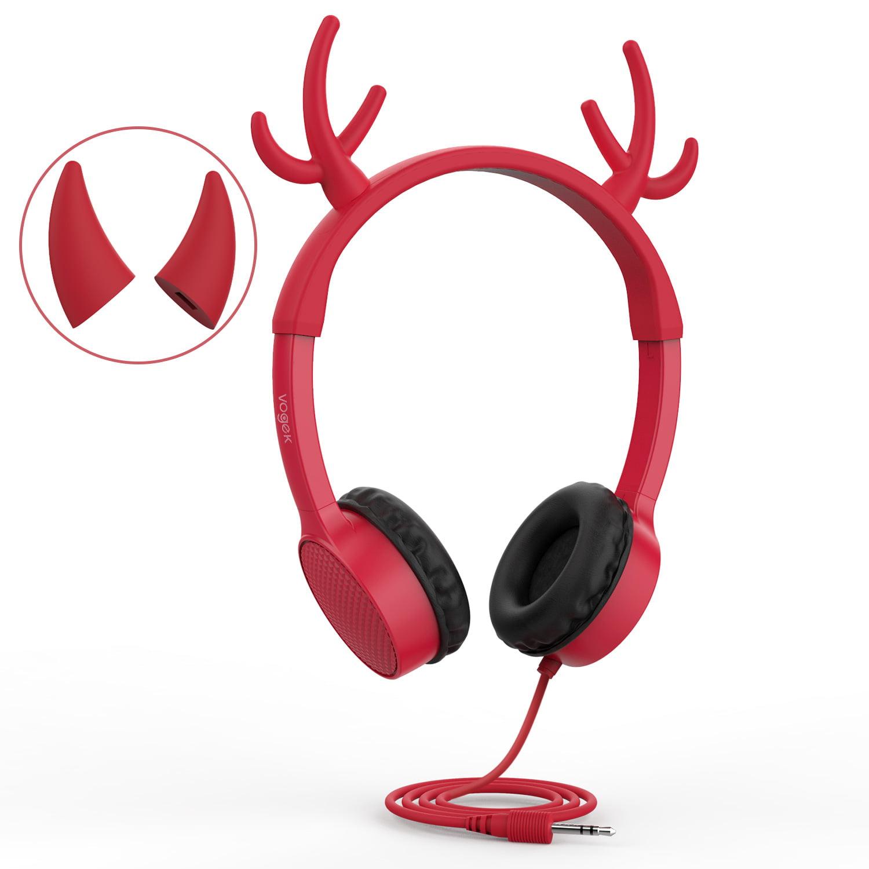 Kids Headphones, Vogek 2 in 1 Devil/Deer Horn Chrismas Ear Wired On-Ear Headphones Headsets with 85dB Volume Limited, Children Headphones for Kids- Red