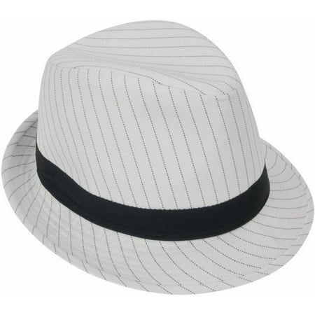 Loftus 1920s Gangster Mob Boss Costume Pinstripe Fedora, White Black, One Size