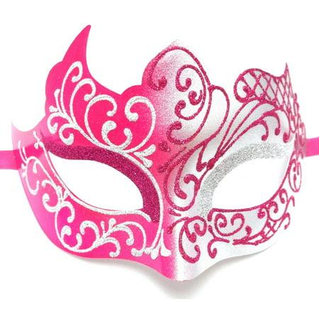 Hot Pink Silver Unique Venetian Masquerade Mardi Gras Halloween Prom - Masquerade Prom