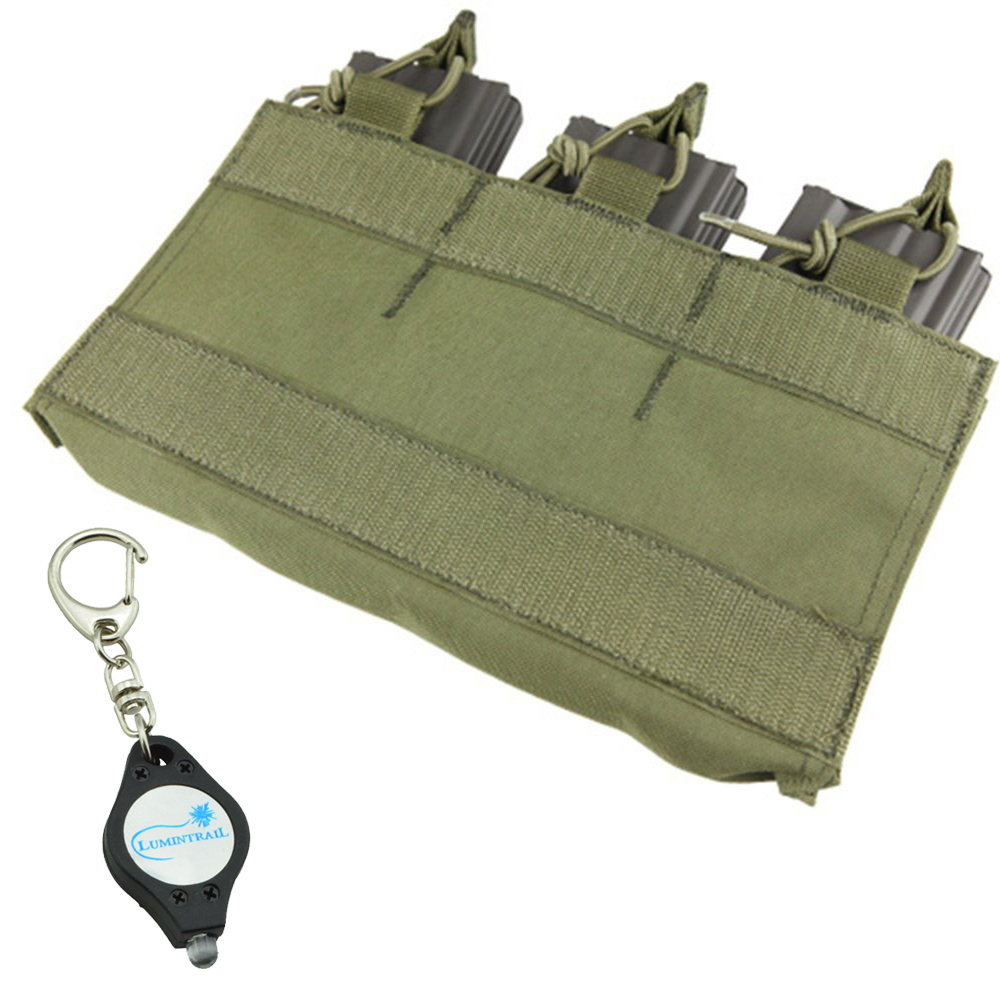 CONDOR OLIVE Hook & Loop Pouch Magazine Insert for MOPC (VA6) PLUS 1 Lumintrail Keychainlight