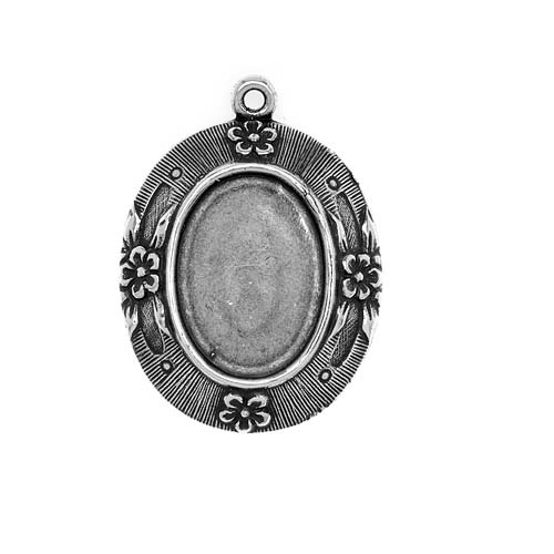 Antiqued Silver Plated 18x13mm Etched Floral Oval Bezel Pendant (1)