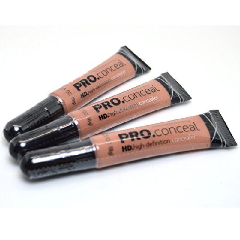 L.A. Girl Pro Concealer 3 x GC977 Warm Sand HD. High Definition Liquid Conceal + FREE EARRING