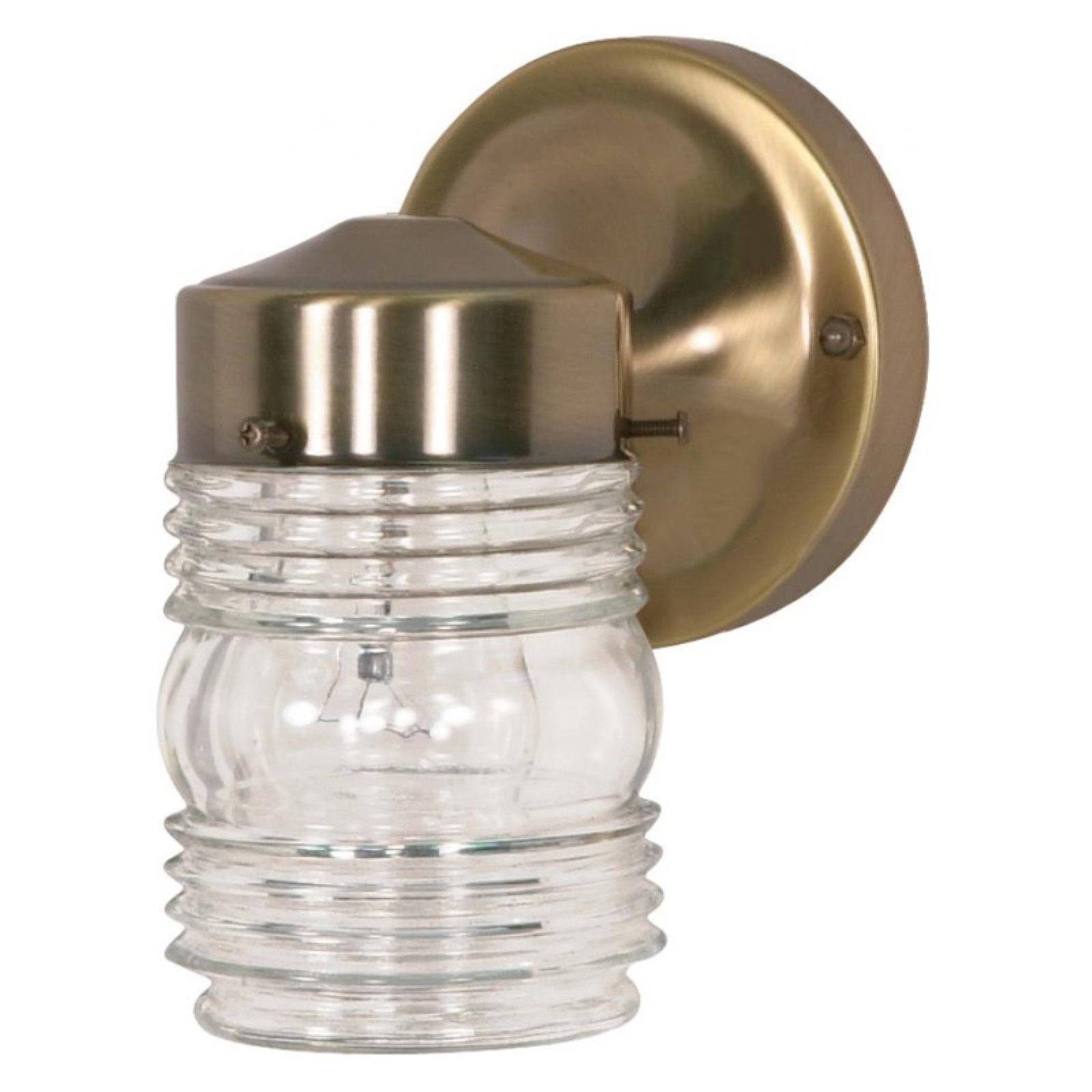 "Nuvo Lighting 77 119 Single Light 6"" Mason Jar Porch Light with Clear Glass Shad by Supplier Generic"