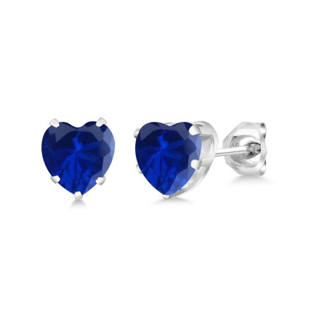 2.14 Ct Heart Shape 6mm Blue Simulated Sapphire 925 Sterling Silver Stud Earrings