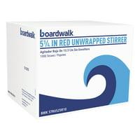 "Boardwalk Single-Tube Stir-Straws, 5 1/4"", Red, 1000/Pack, 10/Carton -BWKSTRU525R10"