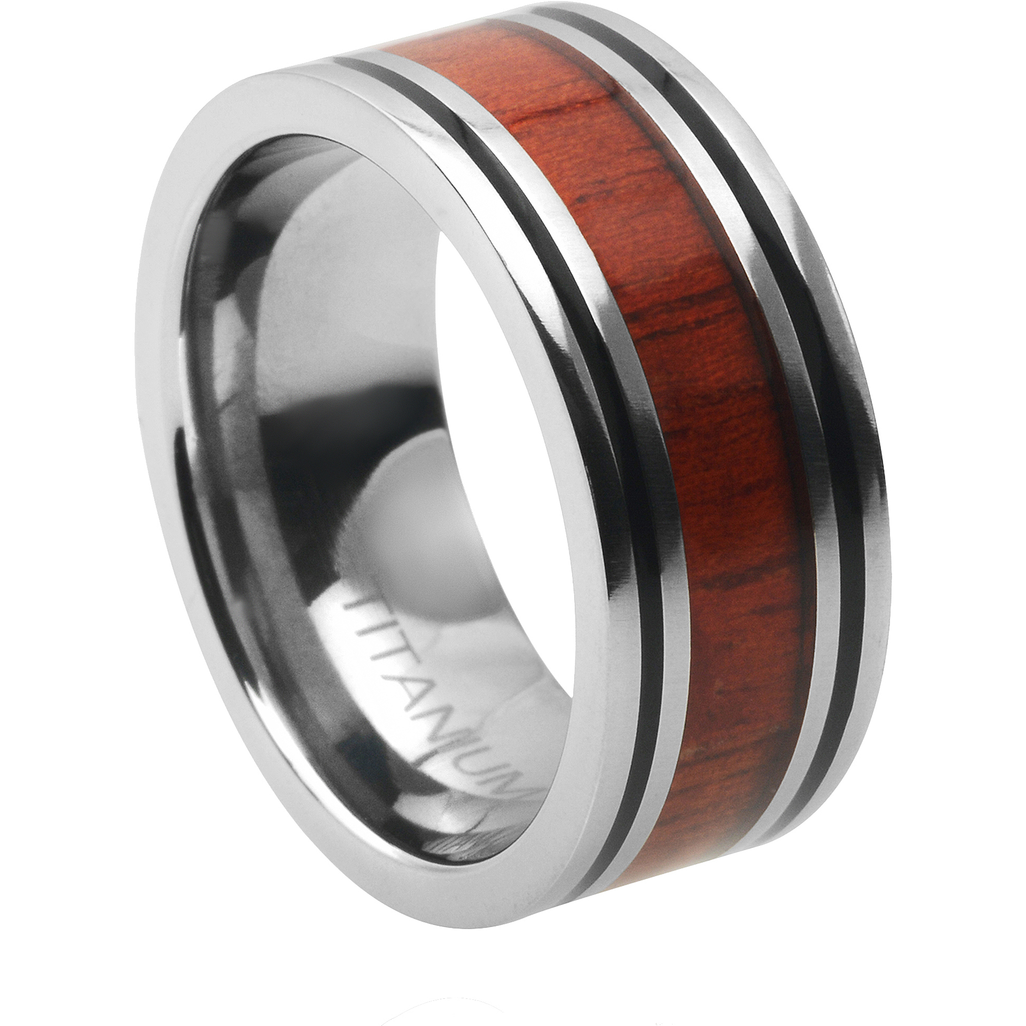 Daxx Men's Titanium Inlay Fashion Ring, 8mm