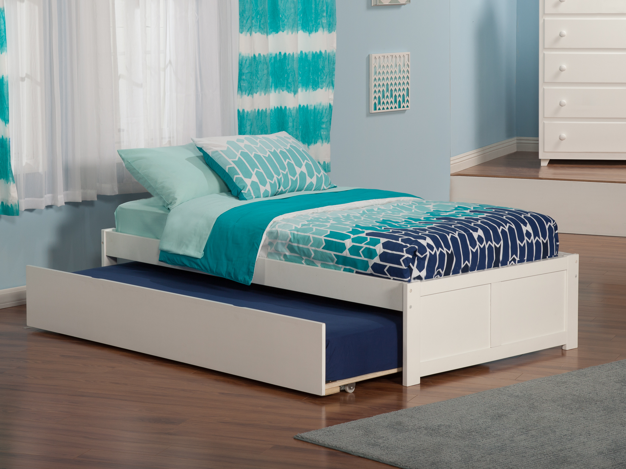 Concord Twin Platform Bed with Flat Panel Foot Board and Twin Size Urban Trundle Bed in White by Atlantic Furniture