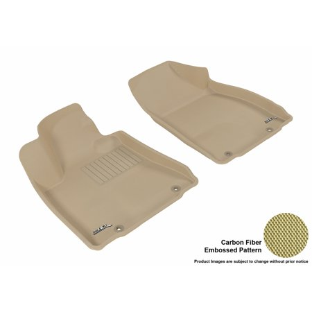 3D MAXpider 2010-2012 Lexus RX350/450H Front Row All Weather Floor Liners in Tan with Carbon Fiber Look