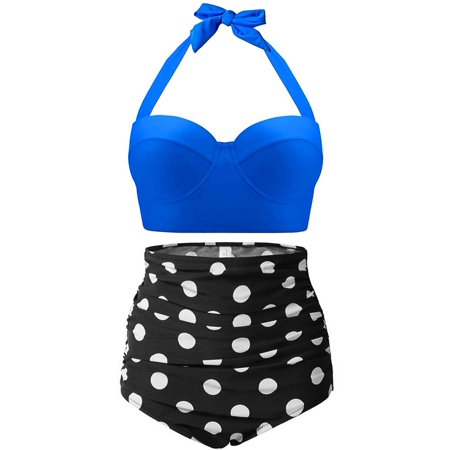 High Waisted Swimsuit, Fascigirl Vintage Polka Women Swimwear Bathing Suit Bikini Set - Old Fashioned Bathing Suits For Sale