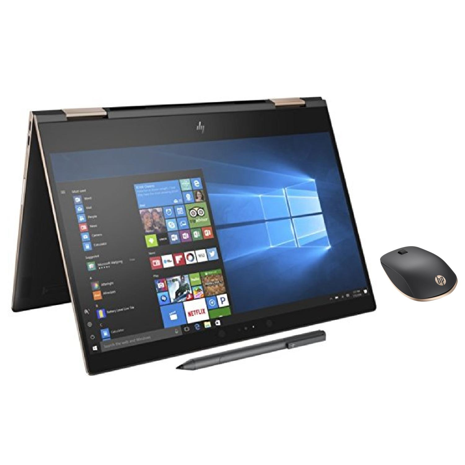 """HP Spectre x360-13t 2-in-1 Convertible Laptop (8th Gen Intel i7, 16GB RAM, 2TB PCIe SSD, 13.3"""" FHD IPS micro-edge Touchscreen Corning Gorilla, Win 10 Home) Dark Ash with HP Z5000 Bluetooth Mouse"""