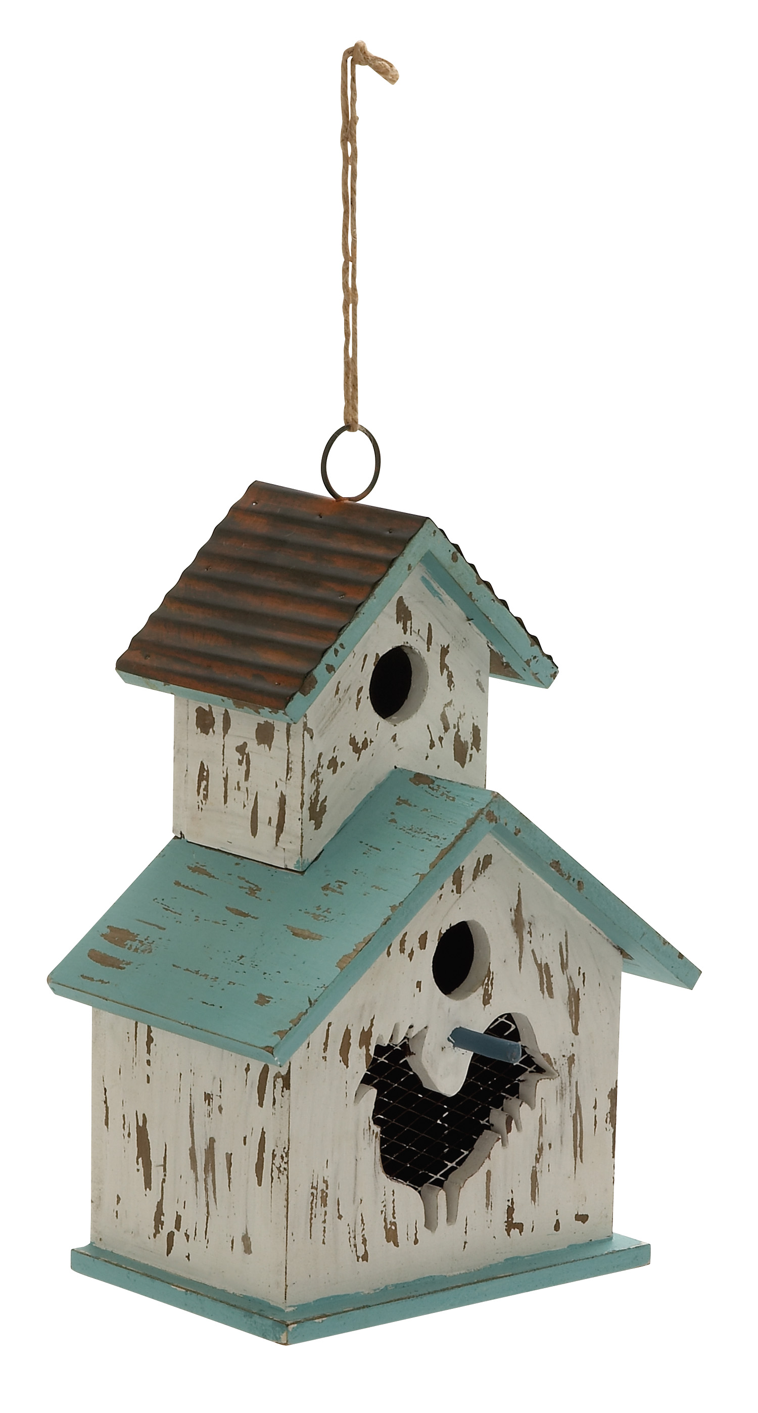 "Adorable Wood Metal Birdhouse 9""W, 20""H by Benzara"