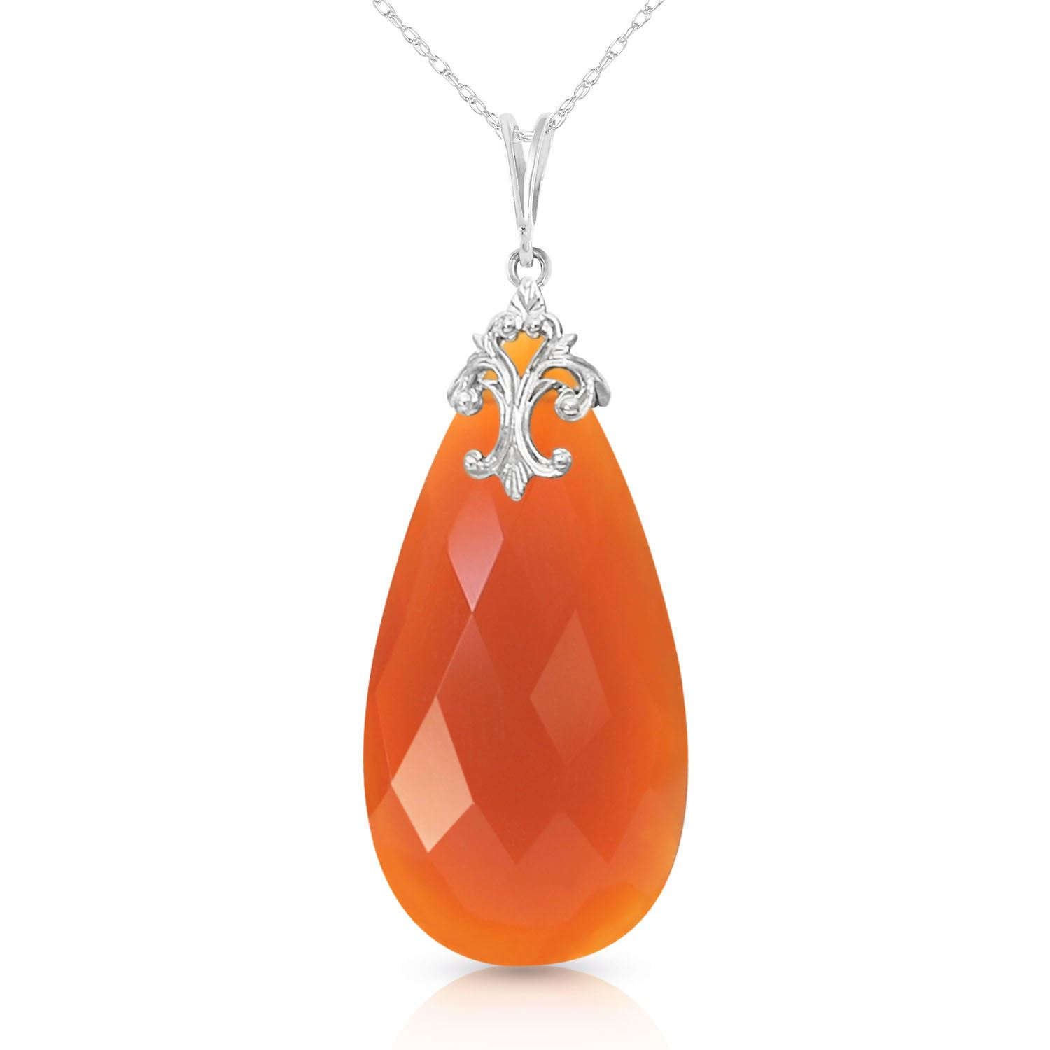 ALARRI 14K Solid White Gold Necklace with Briolette 31x16 mm Reddish Orange Chalcedony with 18 Inch Chain Length. by ALARRI