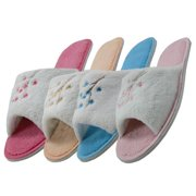 Easy USA S335-L Lady Plush With Embroidery Slippers, 72 Pairs