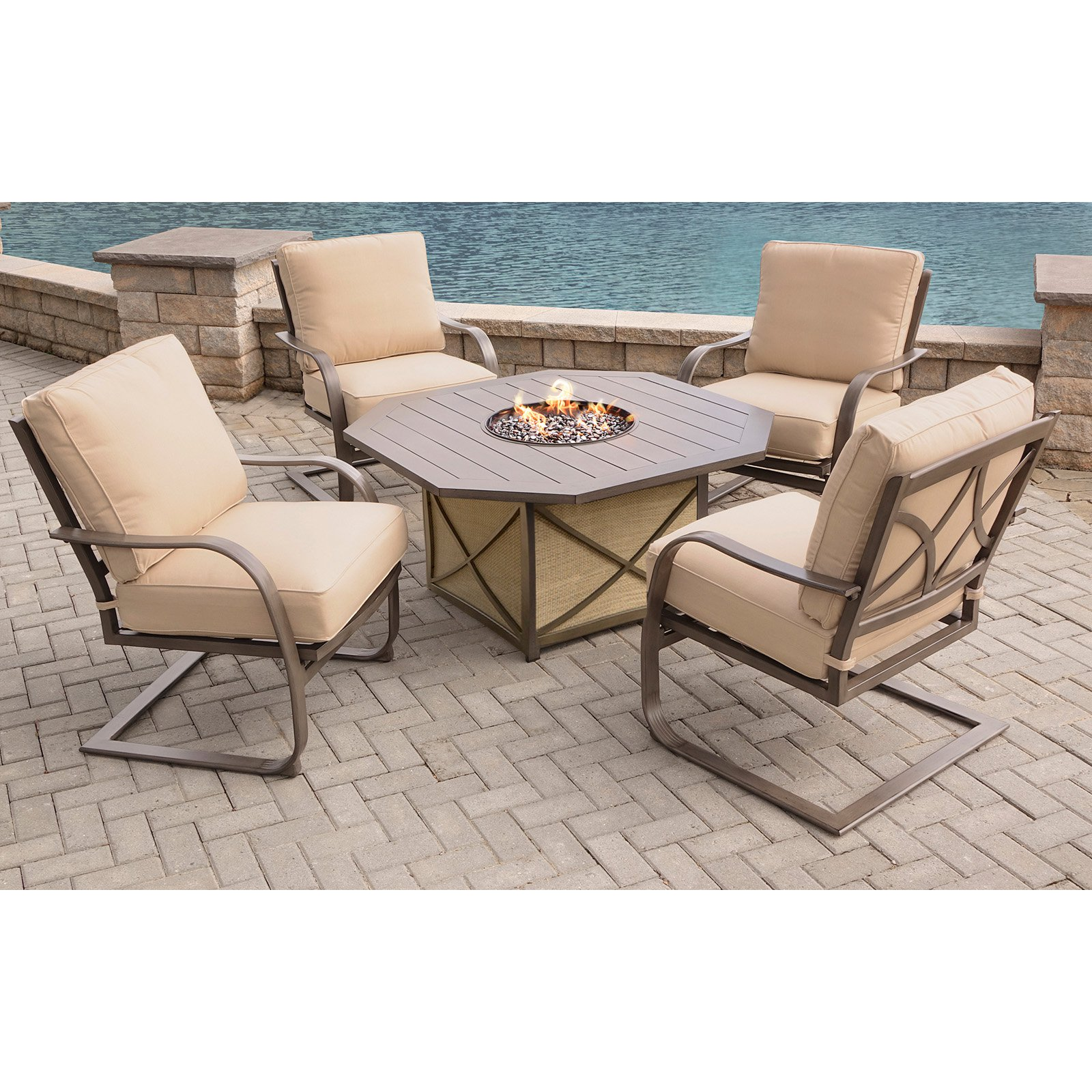 Oakland Living Wood Style Aluminum Natural Gas Octagonal Fire Pit Patio Set with Sunbrella Cushions