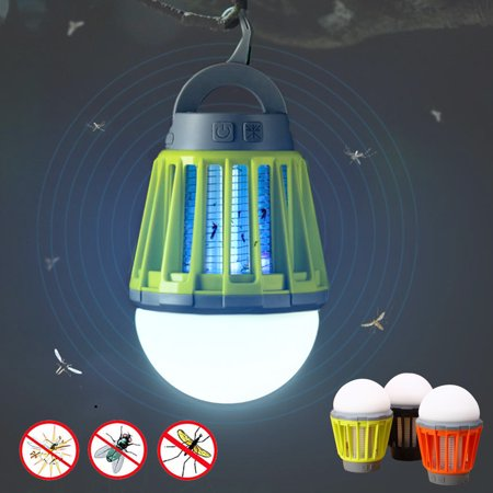 2-in-1 Camping Lantern Tent Light Mosquito Killer - Portable IPX6 Waterproof Bug Zapper LED Lantern with 2000mAh Rechargeable Battery, Retractable Hook, Removable Lampshade - Lighted Lanterns