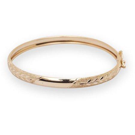 Jewelryweb Com  10K Yellow Gold 5 5 Inch Flexible Baby Bangle Bracelet