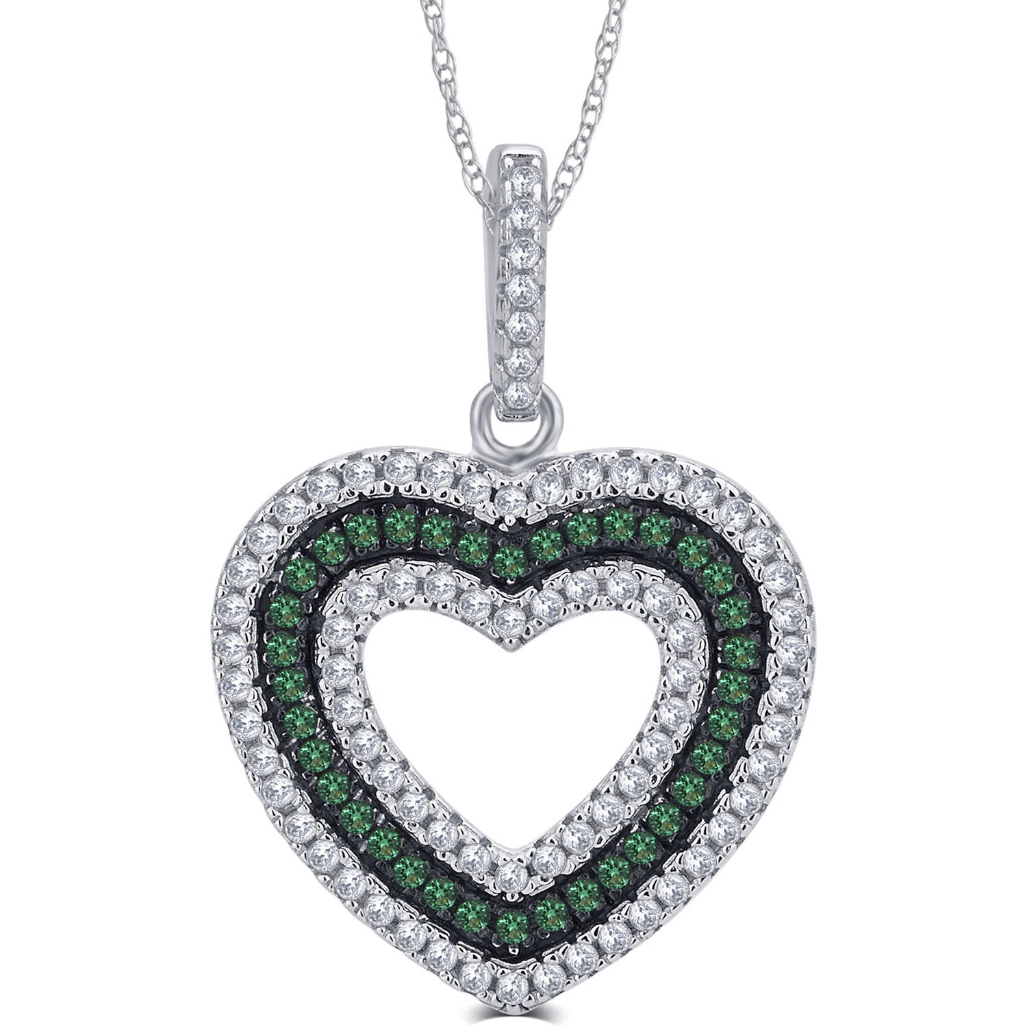 1/4 Carat T.G.W. CZ and Created Emerald Gemstone Sterling Silver Heart Pendant Necklace, 18""
